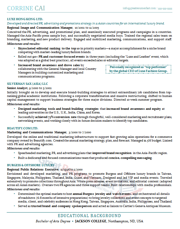 Sample Resume Formats Com Executive Free Example Great College