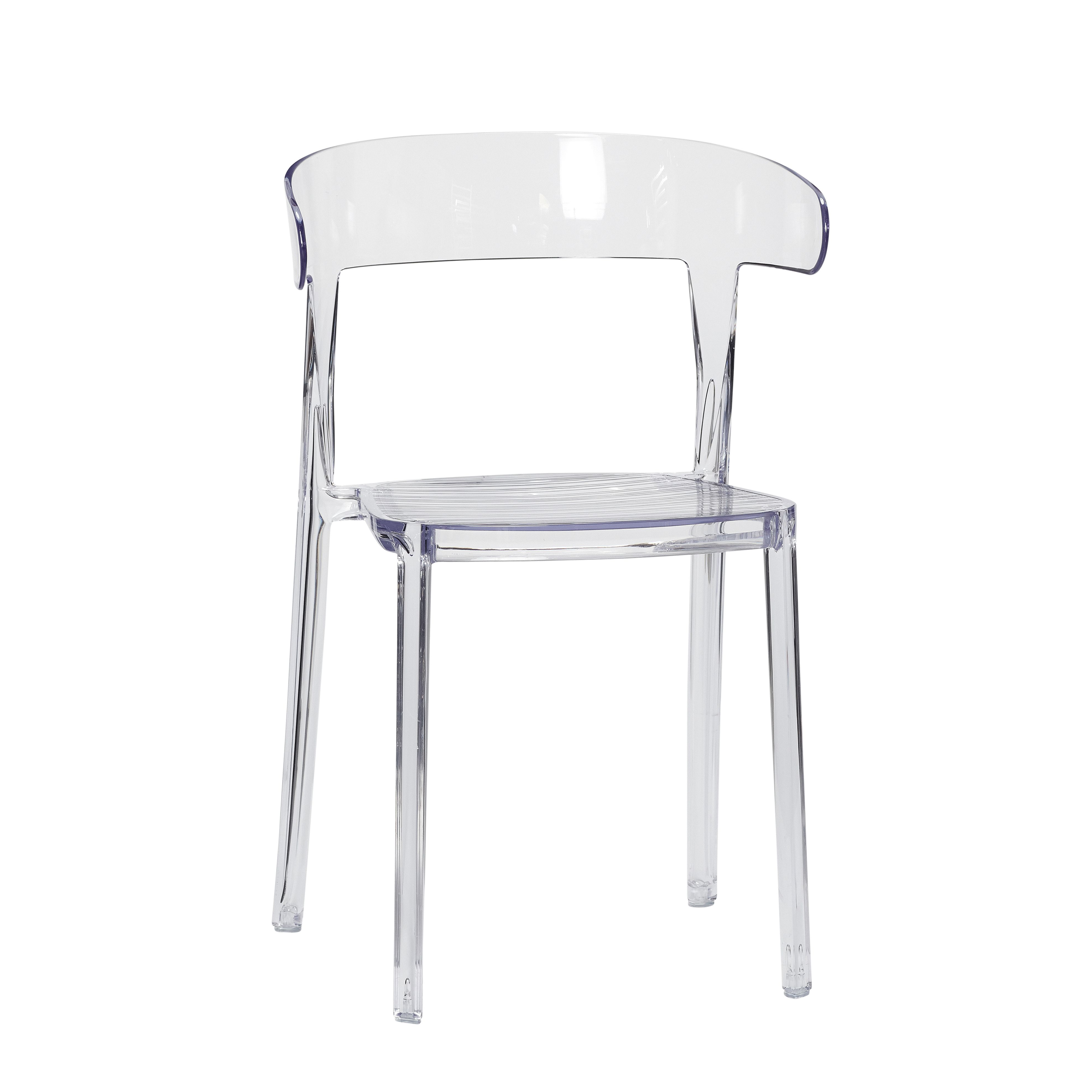 Clear plastic chair The transparent look adds a lightness to the