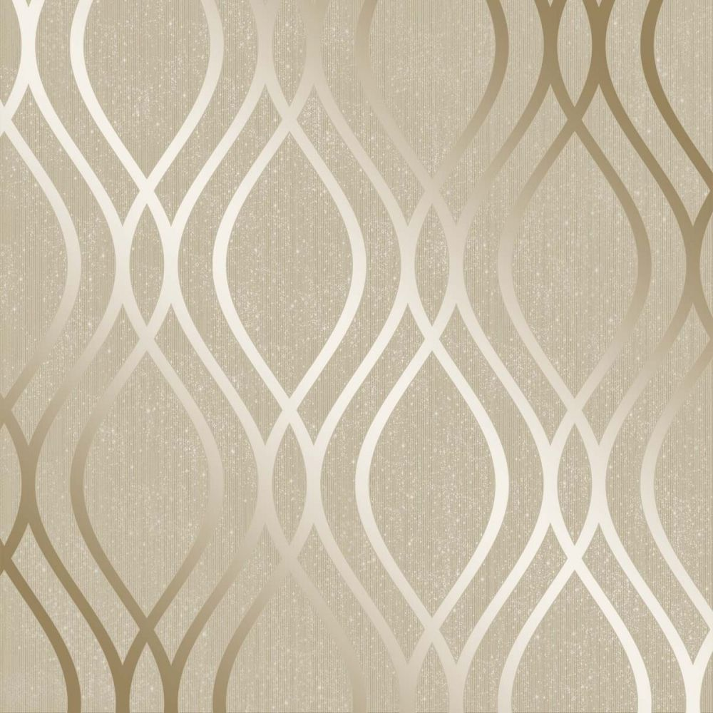 Henderson Interiors Camden Wave Wallpaper Cream Gold in