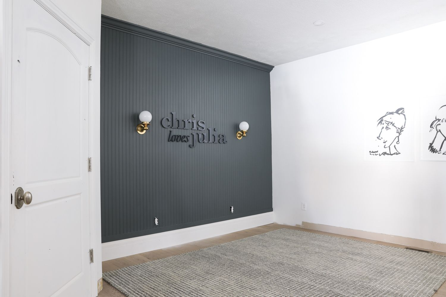 A Dark Beadboard Accent Wall In The Office In 2020 Blue Accent Walls Feature Wall Bedroom Grey Accent Wall