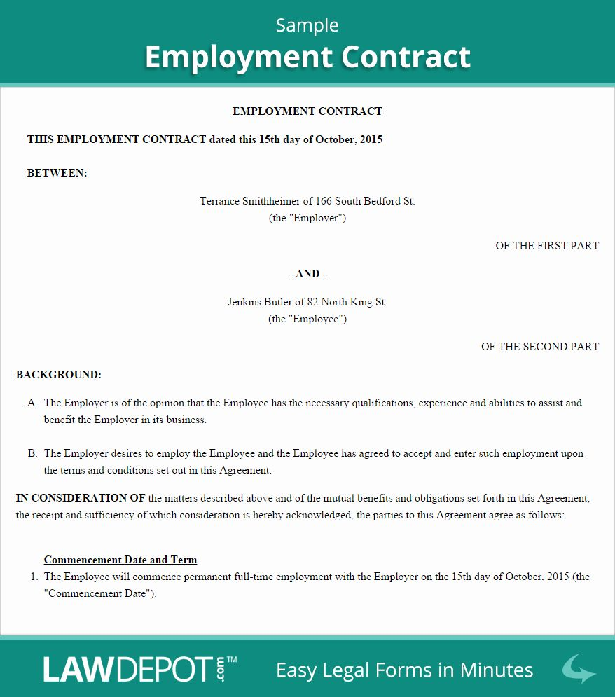 Contract Of Employment Template Beautiful Employment Contract Template Us Lawdepot Letter Of Employment Contract Template Employment At will employment contract template