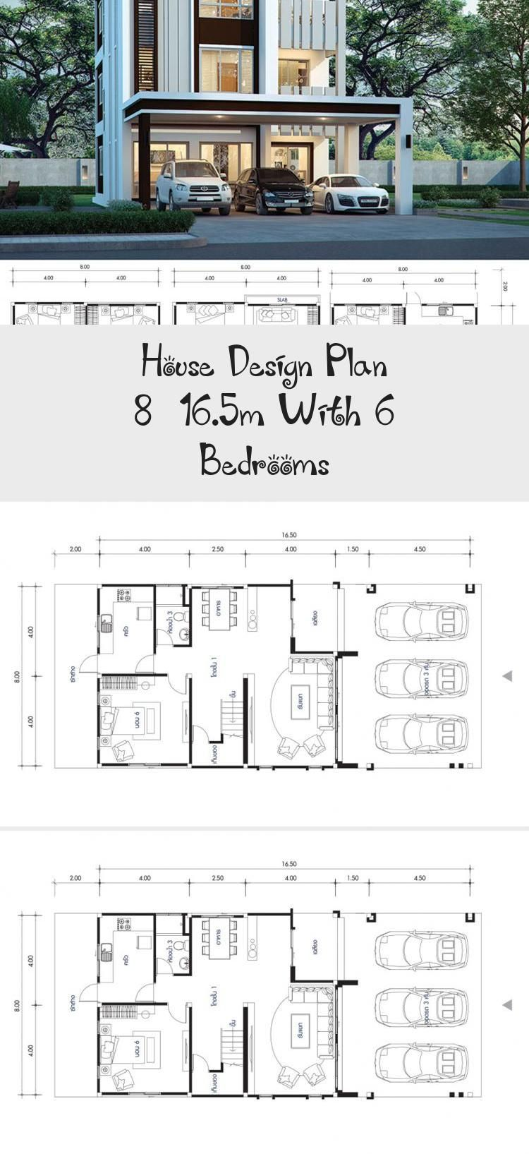 House Design Plan 8x16 5m With 6 Bedrooms Home Design With Plan Dreamhouseplans Bungalowhouseplans In 2020 Unique House Plans Brick House Plans Home Design Plans