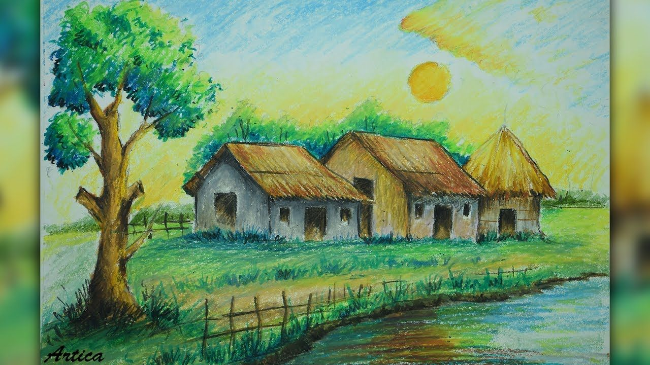 How to draw a village landscape with oil pastel