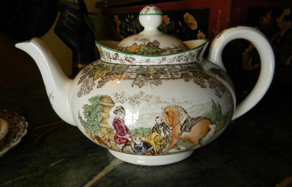 Spode Byron Brown Transferware Tea Pot Teapot Polychrome Man on Horse