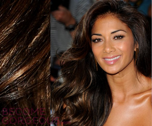 Highlights for black hair and olive skin