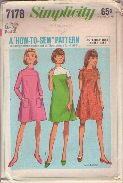 MOMSPatterns Vintage Sewing Patterns - Simplicity 7178 Vintage 60's Sewing Pattern CUTE Easy How to Sew Contrast Color Block Mod Tent Dress, 3 Styles Size 9JP
