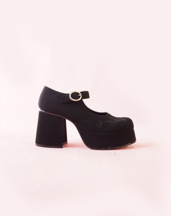 093f1769596 Deadstock LEI 90s Black Platform Mary Janes 90s by ACTUALTEEN