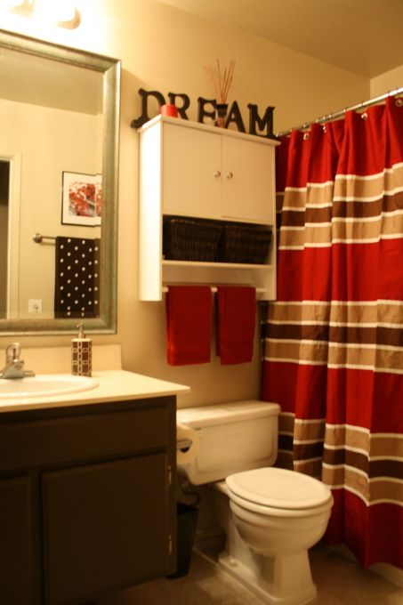 red brown and beige striped shower curtain bathroom