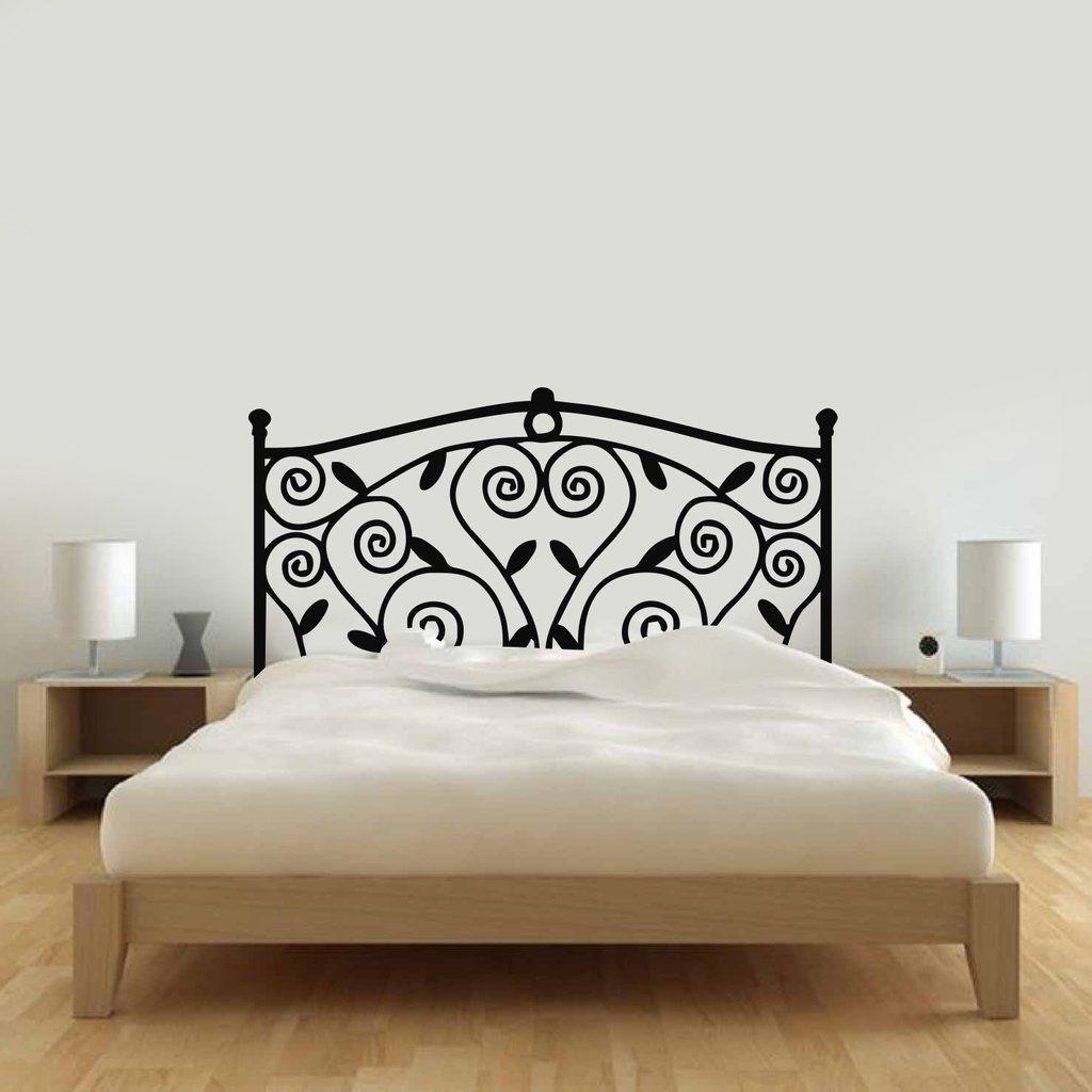 vinilo decorativo respaldo cama hierro enredadera | Decoración ...
