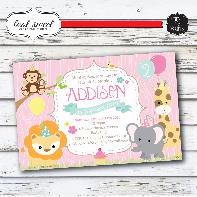 Printable Zoo Birthday Invitation - Monkey see, Monkey do Party ...