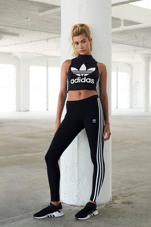 Hailey Baldwin Sports Three Stripes for JD Sports x adidas