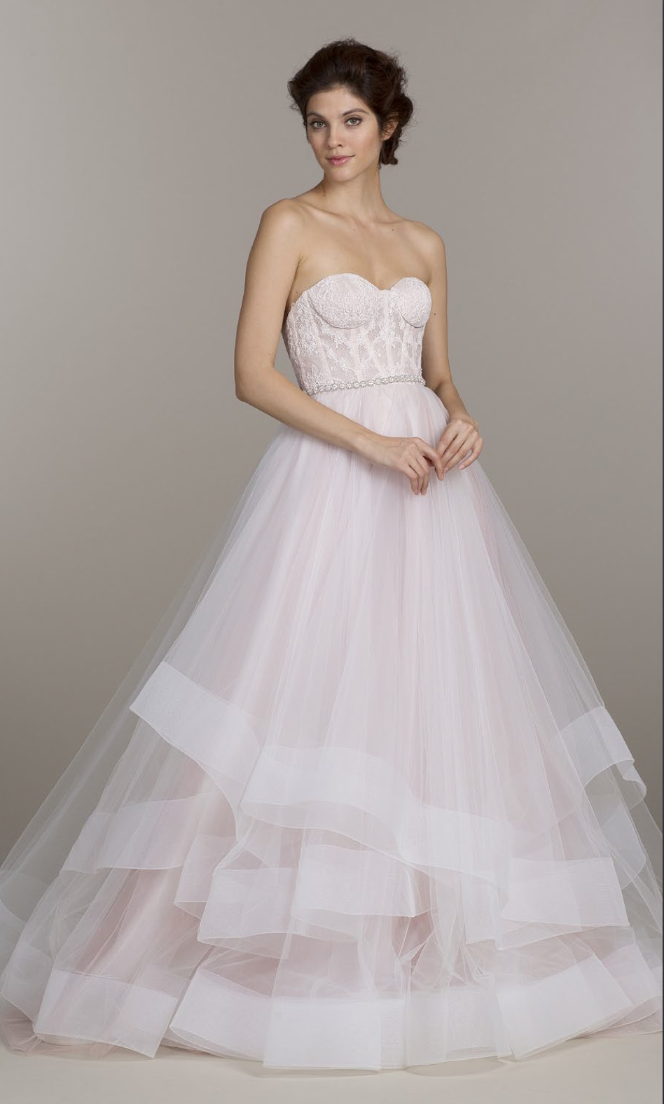 Sherbet tulle bridal ball gown with strapless corset