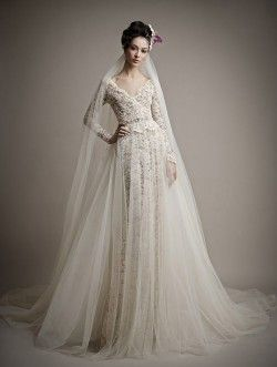 Ersa Atelier dramatic long sleeves laces column sheer overlay cathedral veil