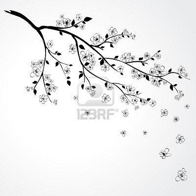 Illustration Of Flowering Branch Of Sakura With Flying Petals Flower Illustration Branch Drawing Japanese Cherry Tree