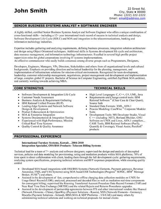 software developer resume sample best software engineer resume - programmer analyst resume sample