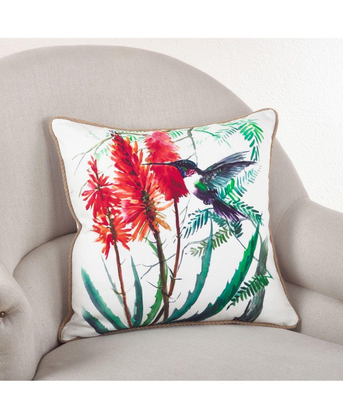 """Saro Lifestyle Hummingbird Throw Pillow, 18"""" x 18"""" - Multi"""