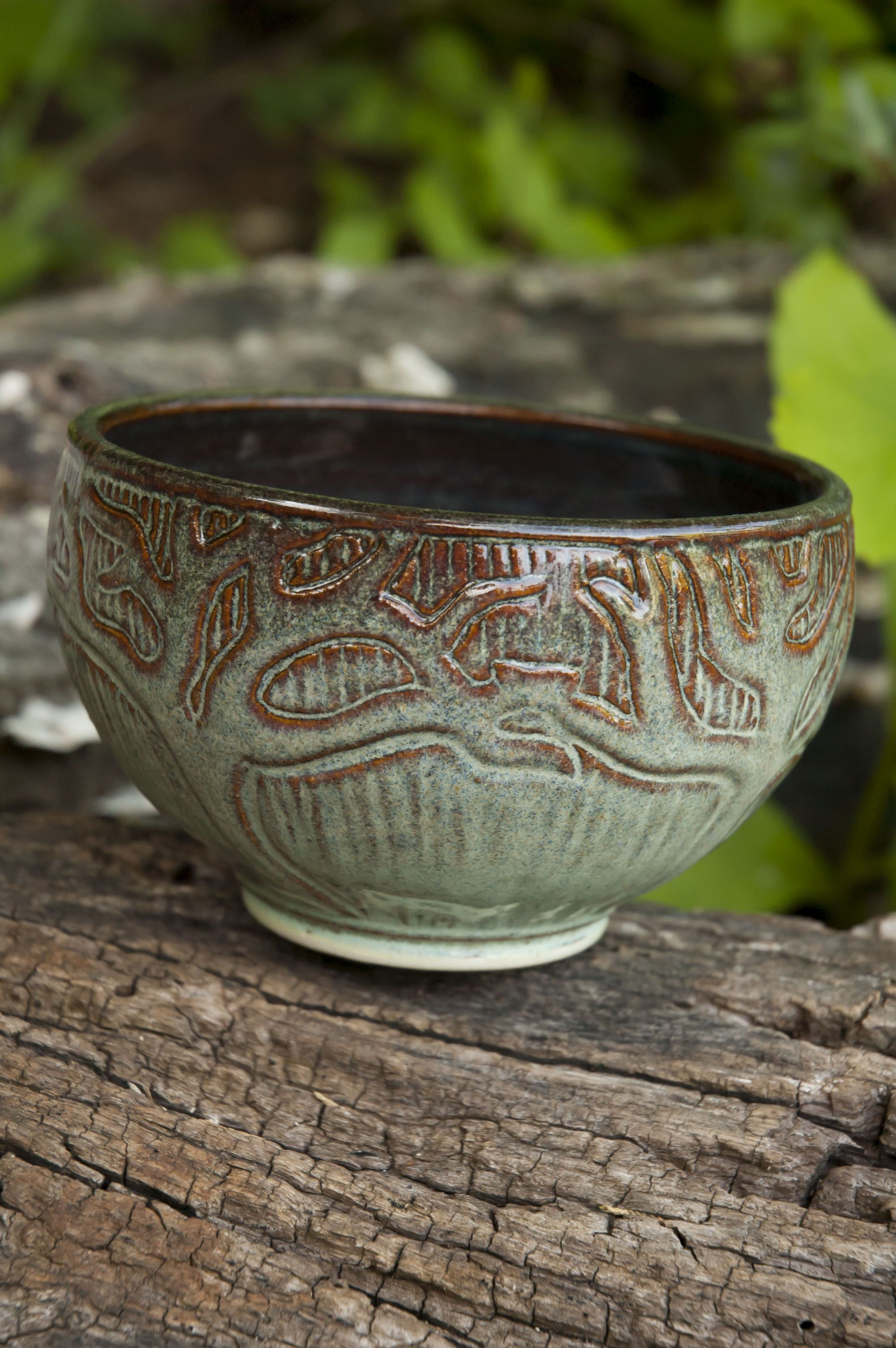 Wheel thrown hand carved bowl with tree design ceramics