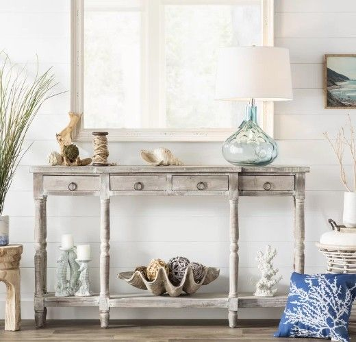 Terrific Styling A Console Table With Coastal Decor Like A Pro In Gmtry Best Dining Table And Chair Ideas Images Gmtryco