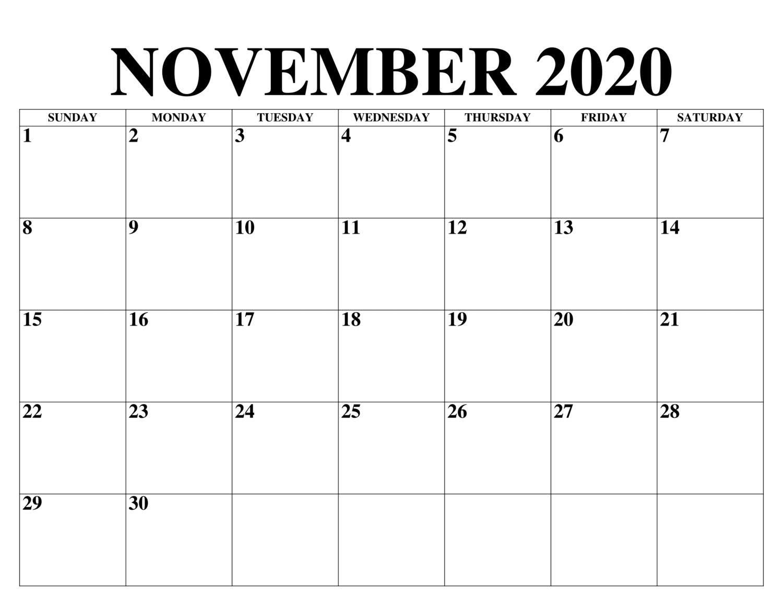 November 2020 Kalender Vorlage In 2020 Calendar Word Personalised Calendar Monthly Calendar Template