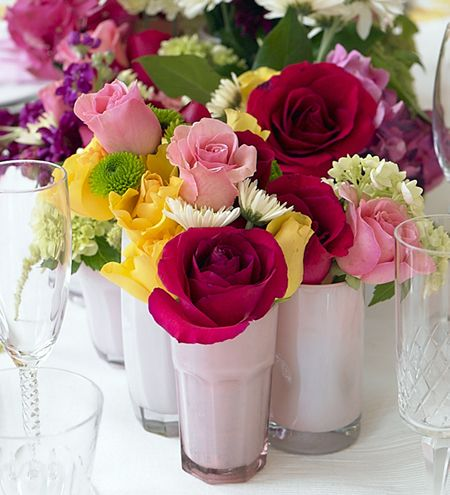 Easy Spring Table Centerpieces | ... colorful flowers, with stems cut to size, for a bright centerpiece