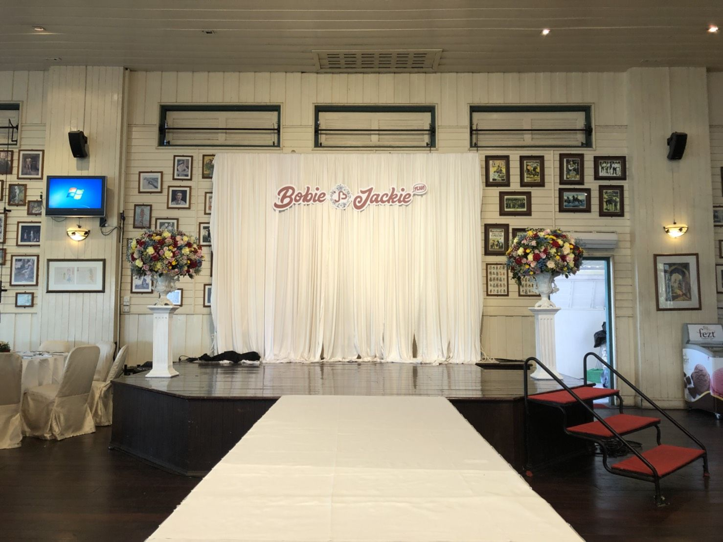 Wedding stage with blue pastel theme at Song Fang Klong , The ...