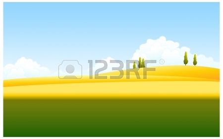 Diese Abbildung ist eine gemeinsame Naturlandschaft. Grüne und gelbe Landschaft mit blauem Himmel