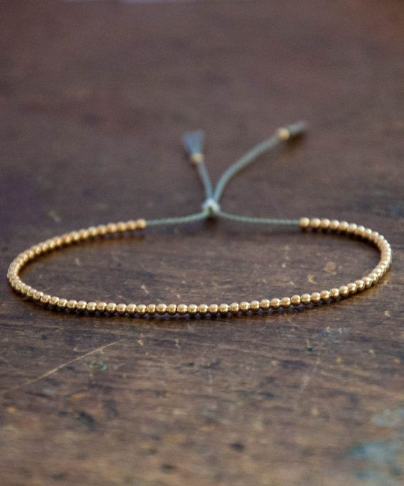 Summer Solid 10k Yellow Gold Beaded Friendship Bracelet Delicate With Dainty Beads Silk