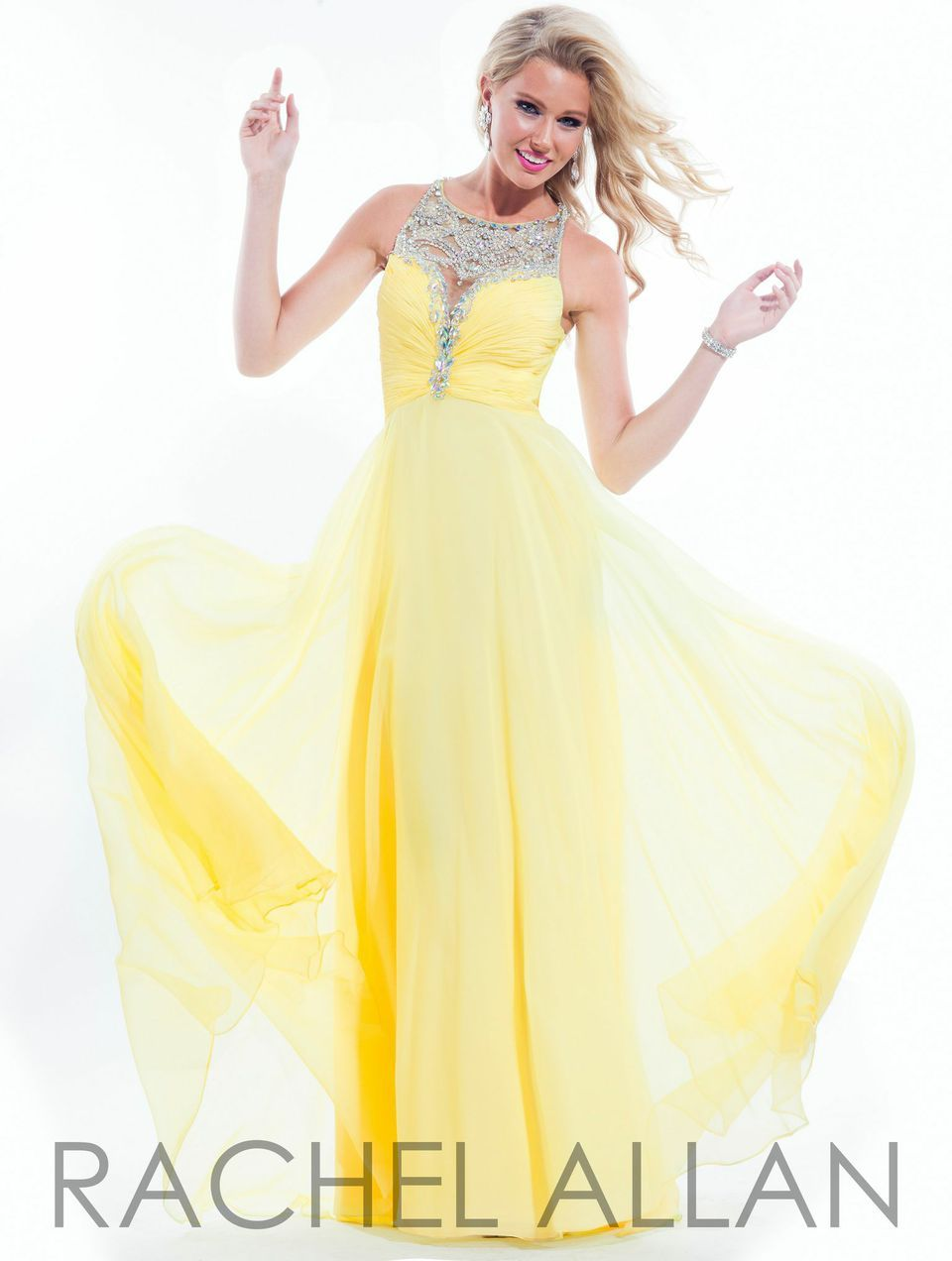 New for PROM 2015! Rachel Allan gown style 2861 at B.loved Boutique. #blovedprom #openback #yellowdress #prom2015 www.blovedfashions.com