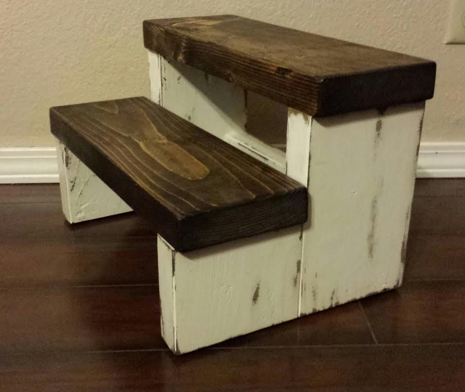 Rustic stepstool wood stool farmhouse style step by for Cool stool designs