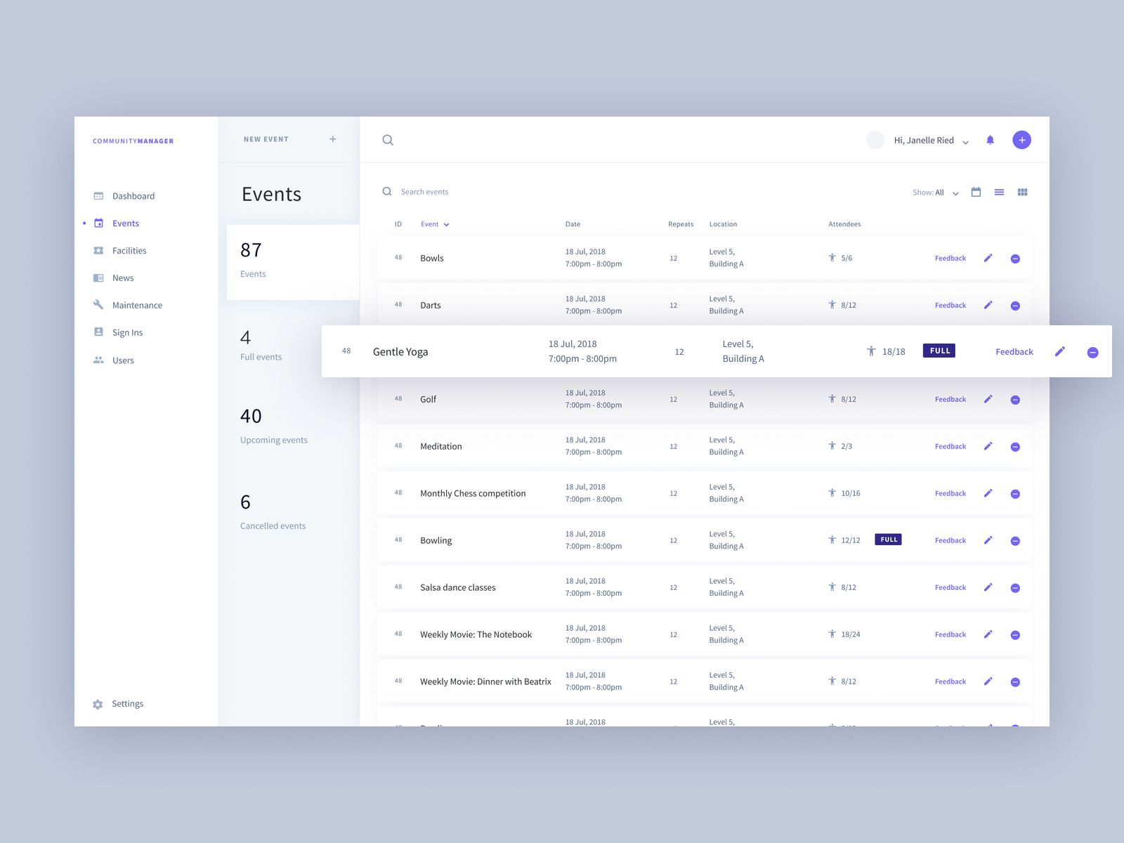 Table ui design examples