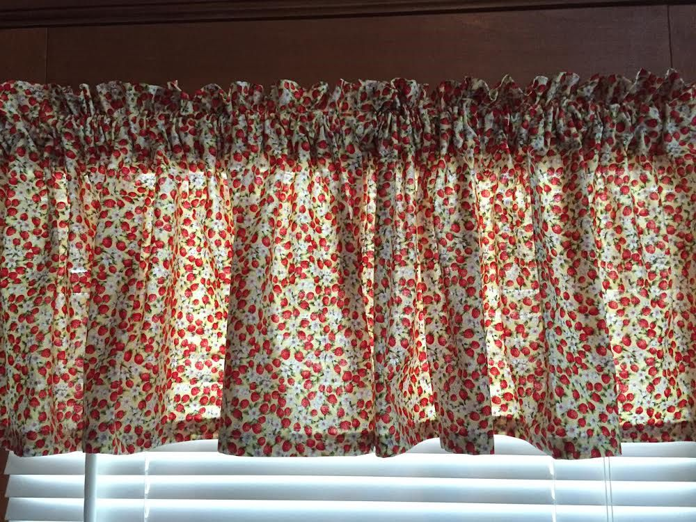Mini Strawberries Kitchen Valance ~ 42 Inches Wide by CheriesSewCrafty on Etsy