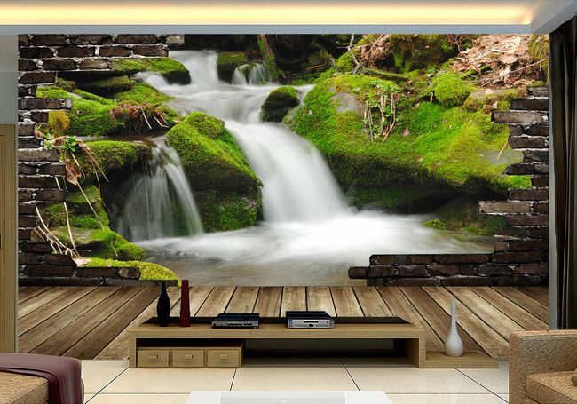 papier peint 3d personnalis tapisserie paysage sur mesure. Black Bedroom Furniture Sets. Home Design Ideas