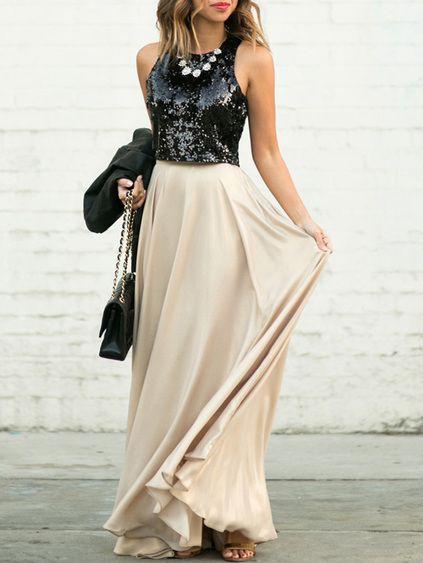 Apricot maxi dress black