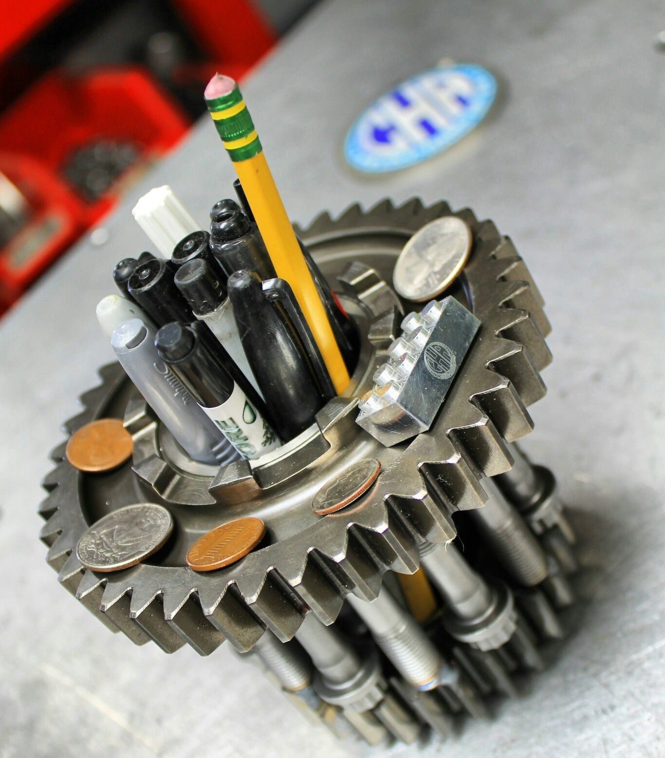 Indycar Transmission Gears With Top Fuel Connecting Rod Bolts Pencil