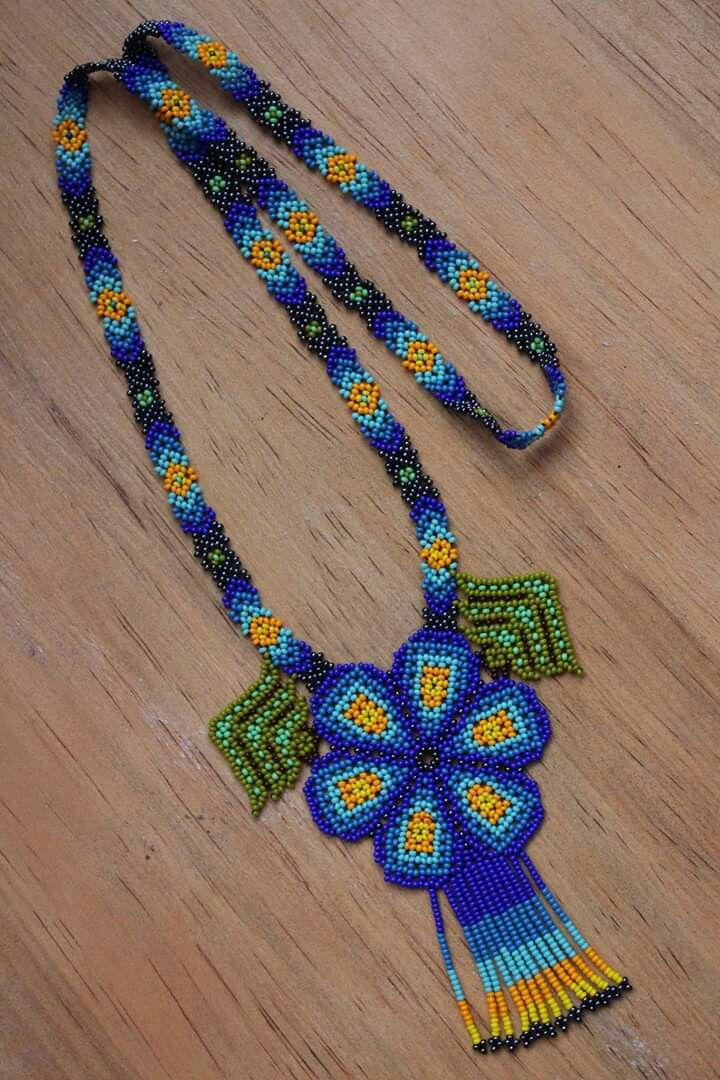 Mexican Jewelry Huichol Necklace Deer Necklace Beaded Necklace Mexican Necklace Artisanal Mexican Jewelry Traditional Huichol Necklace