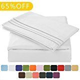 #10: TasteLife 105 GSM Deep Pocket Bed Sheet Set Brushed Hypoallergenic Microfiber 1800 Bedding Sheets Wrinkle Fade Stain Resistant  4 Piece(WhiteQueen)