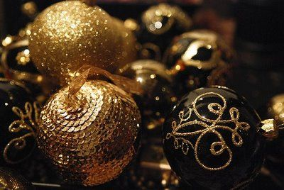 Black And Gold Christmas Ornaments Gold Christmas Decorations Black Gold Christmas Gold Christmas Ornaments