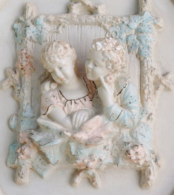 I bought these Gorgeous Plaques on Etsy. 2 Chalkware Wall Plaques Hangings - French 1700s Couple  - Alexander Backer - Shabby - Cream Pink Blue Gold - decor - Rare Vintage