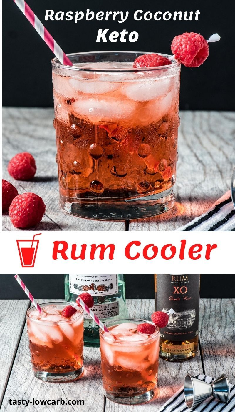 Keto Raspberry Coconut Rum Cooler Tasty Low Carb Recipe In 2020 Raspberry Coconut Low Carb Drinks Low Carb Cocktails