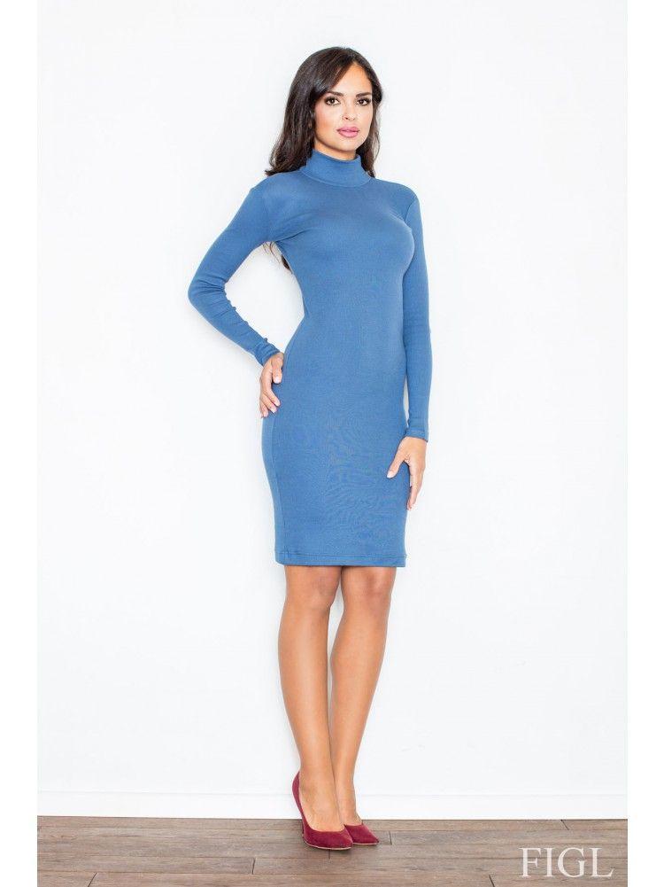 7b332e609036 Γυναικείο κομψό midi ζιβάγκο φόρεμα Μπλε