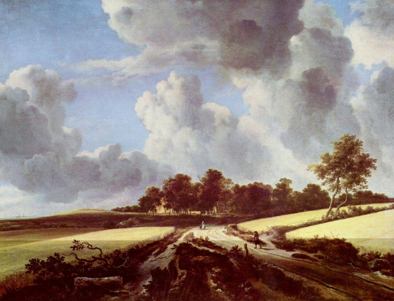 Landschaftsmalerei barock  Jacob Isaaksz. van Ruisdael. Weizenfelder. Um 1670, Öl auf ...