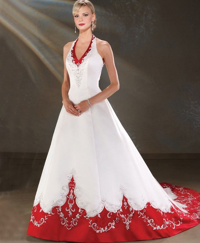 White And Red Wedding Gowns: White Wedding Dress With Red Banding And Details. This One