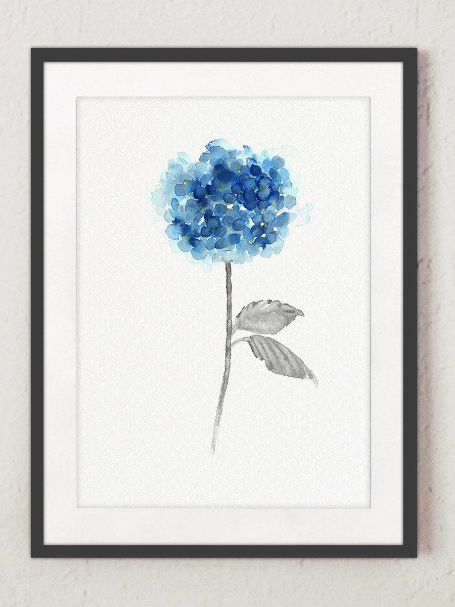 Hortensia Bleu Lot De 3 Peinture A L Aquarelle Abstrait Fleurs