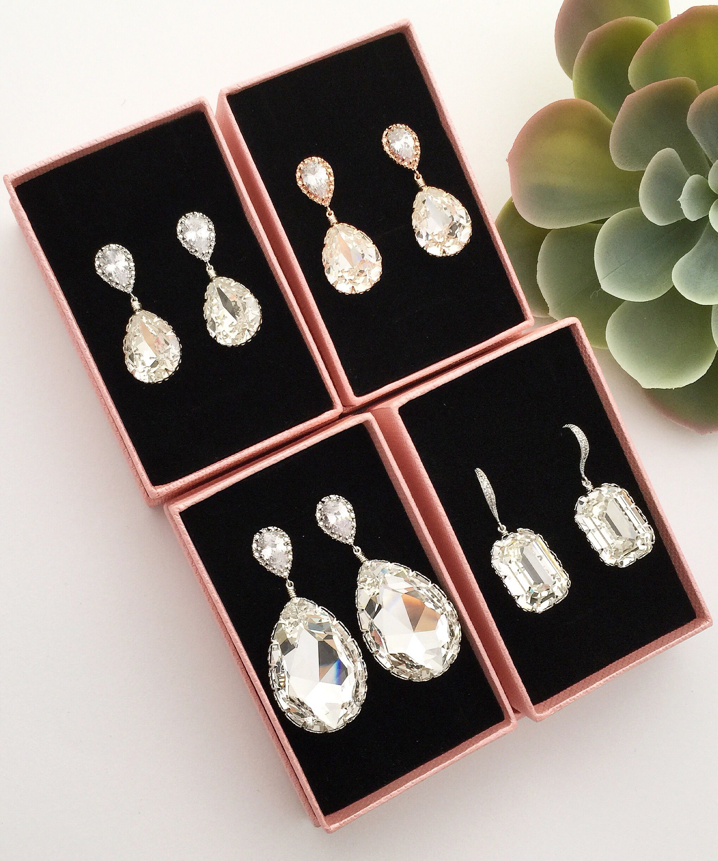 8fefdeb8f Handmade Swarovski crystal bridal earrings from EarringsNation rosegold wedding  bridal Jewelry bridal fashion bride style