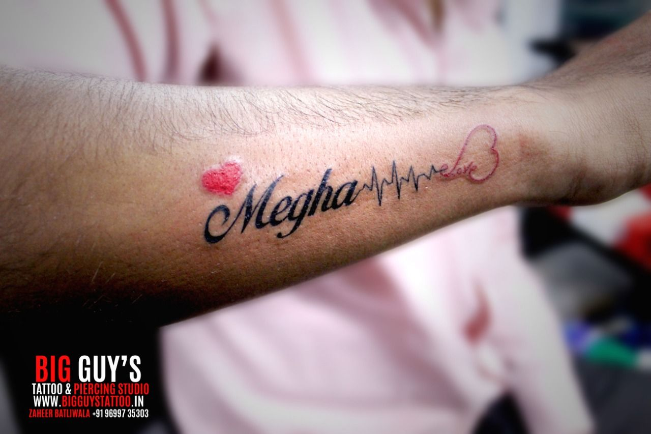 Beautiful Megha Along With Heart Ratting Done At Big Guys Tattoo Tattoos For Guys Tattoos Forearm Name Tattoos