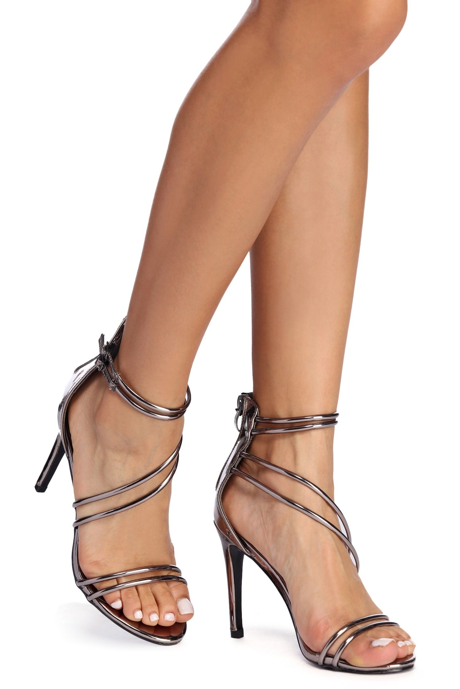 usa cheap sale super cute limited guantity Pewter Sleek And Strappy Heels | Stiletto heels, Heels, Fashion heels