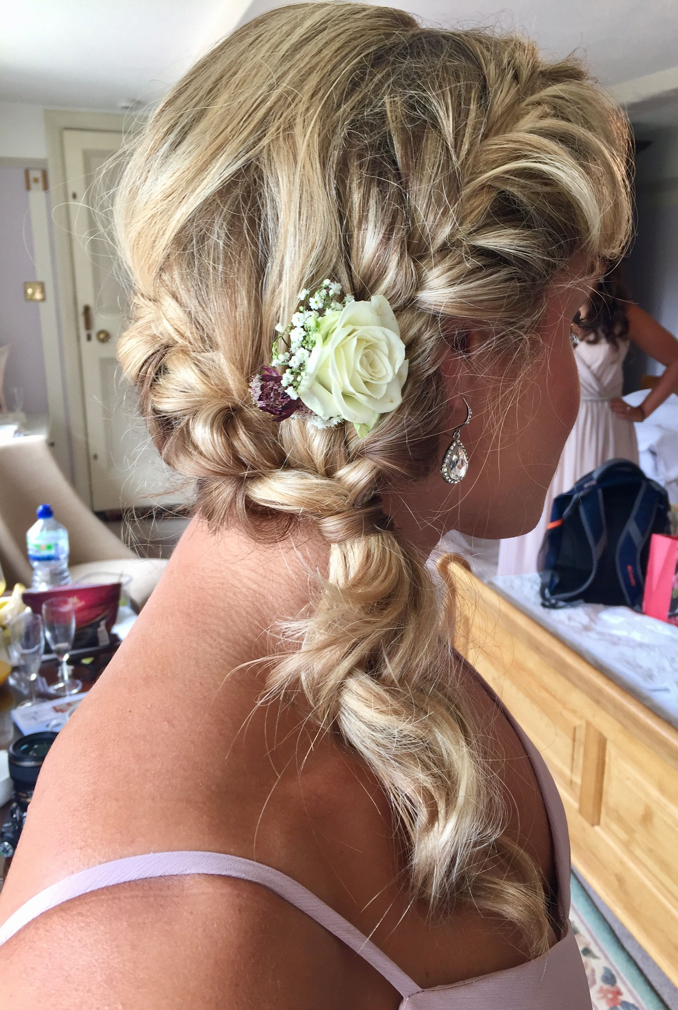 bridal french plaits into side curls with flowers | wedding hair