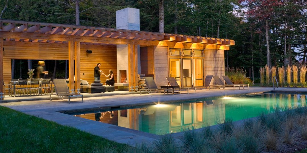 Do It Yourself Home Design: Amazing Pool House With Indoor And Outdoor Space As Well