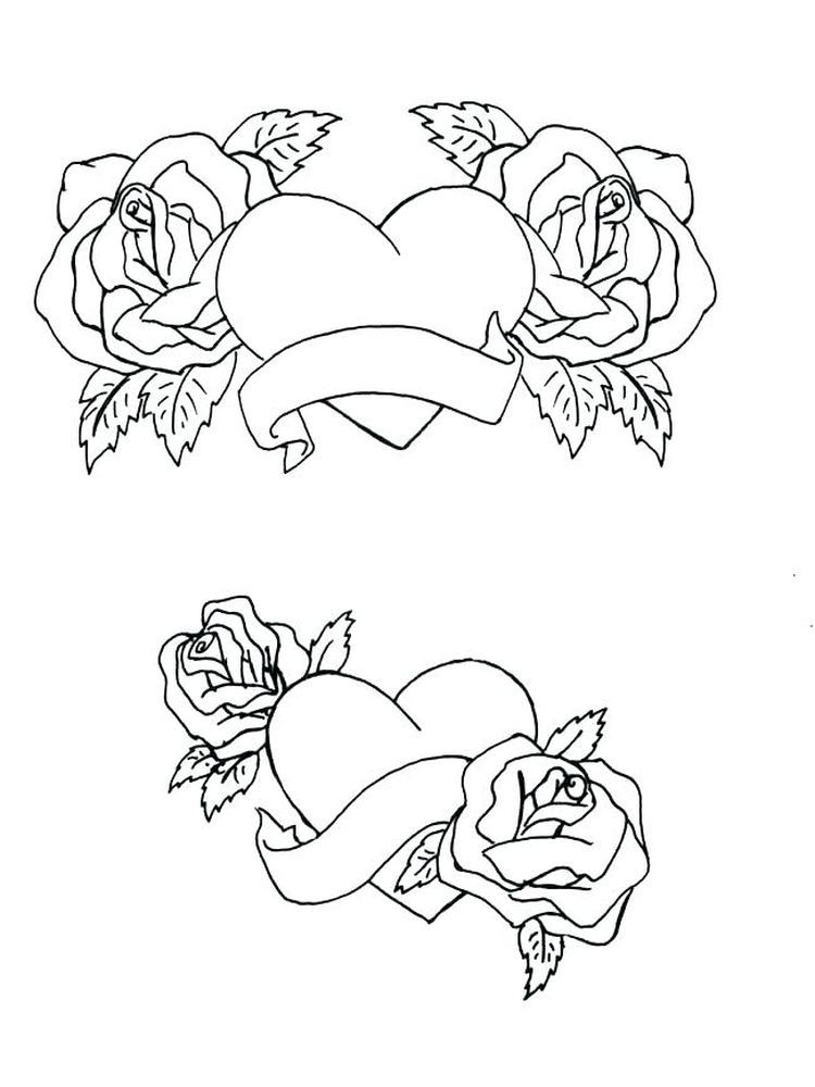 Rose Coloring Book Page Heart Coloring Pages Coloring Books