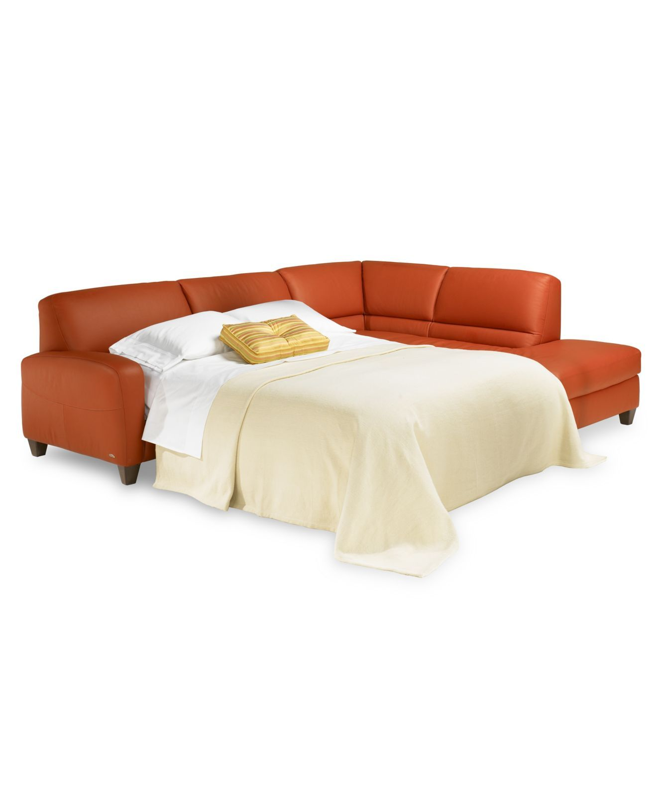 Renata Sectional Sofa 2 Piece Leather Sleeper Custom Colors